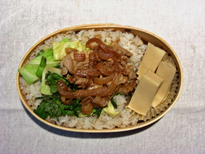 豚と玉ねぎのしょうが焼き 高野豆腐