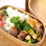 鶏の塩焼きと春野菜の曲げわっぱ弁当レシピ。
