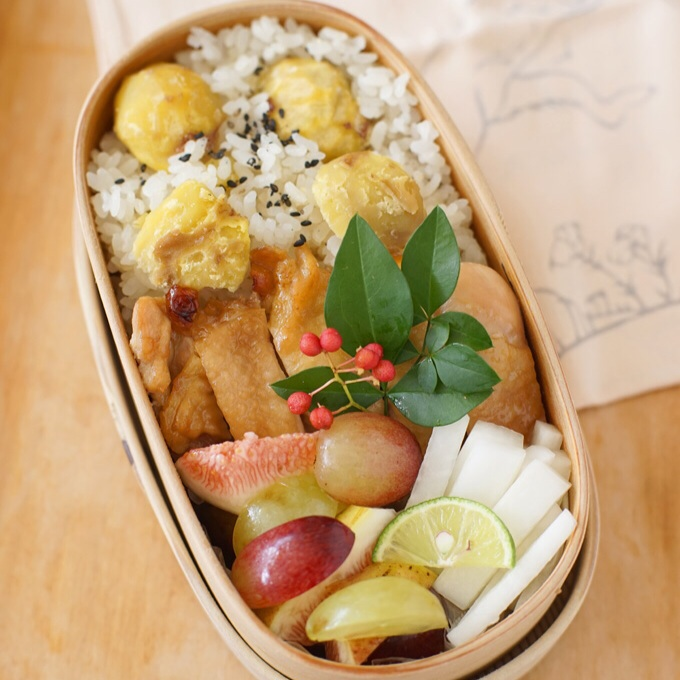 kuri-gohan(chestnut rice) bento recipes