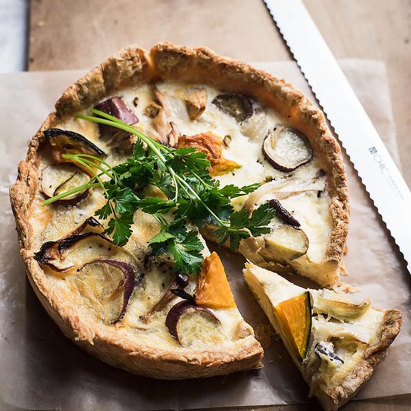 キッシュのレシピを復習。野菜のオーブン焼きをたっぷり使って。