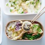 【お弁当の詰めかた・その4】ユキノシタとシュンランの山菜天ぷら弁当はご飯の上にびろーんと乗せるのがコツ