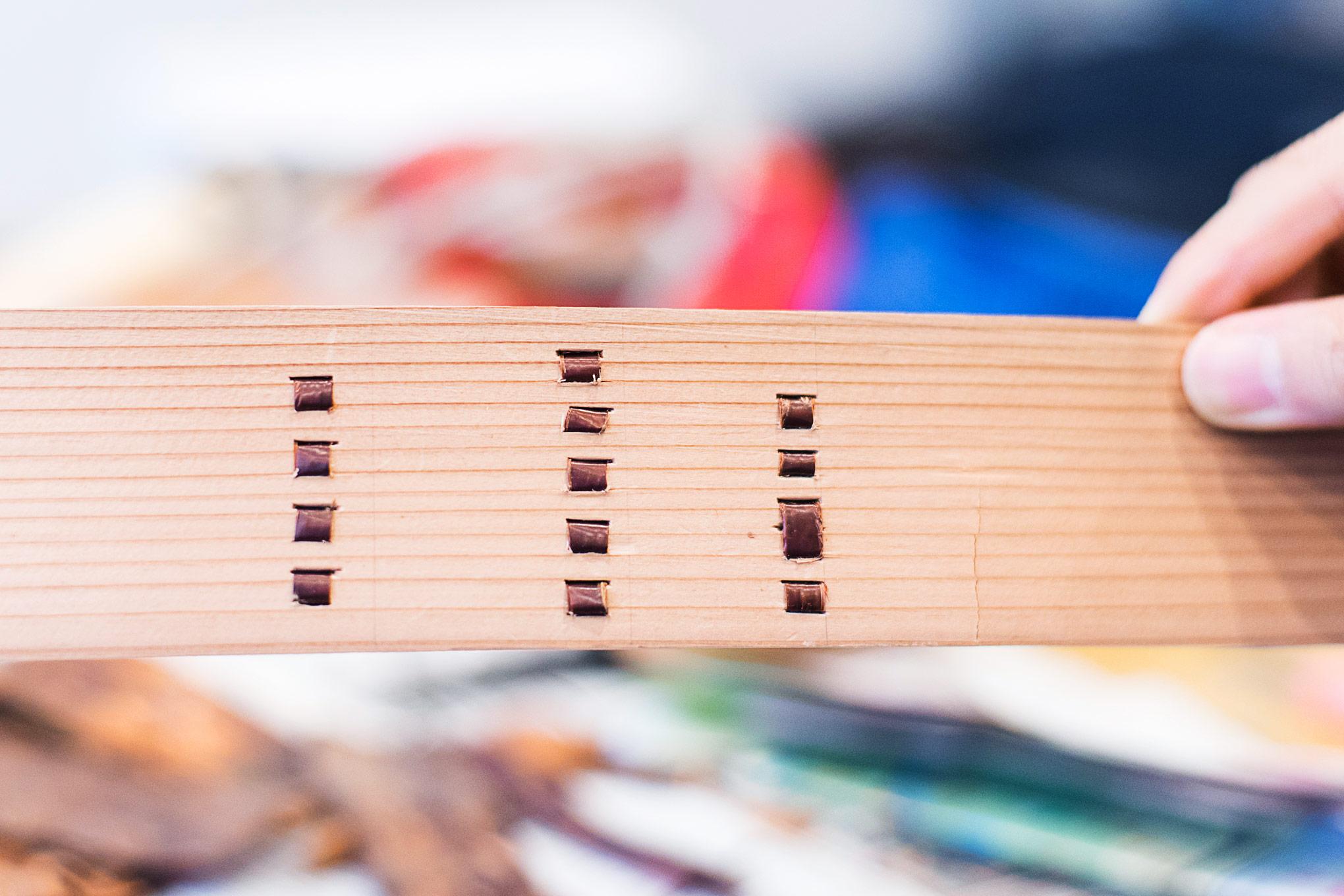 【神山曲げわっぱプロジェクトその16】桜の皮を通す練習をしました