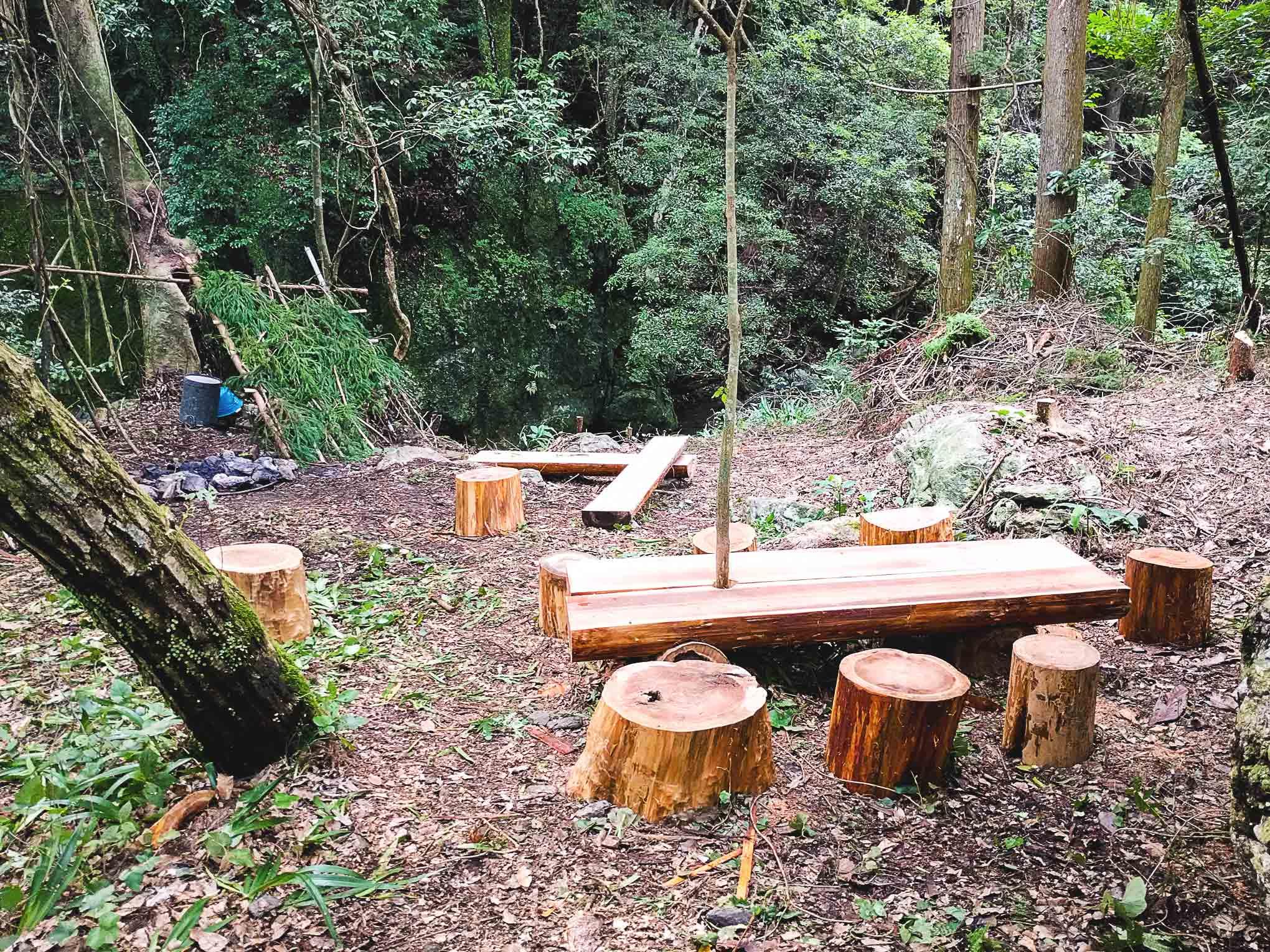 【曲げわっぱ工房の庭の森のこと】杉の丸太でステキなテーブルと椅子を作ってもらって夢みたいな光景が広がった話し