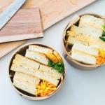 サンドイッチを曲げわっぱに美しく詰めたい。杉板でカットガイドを作りました。