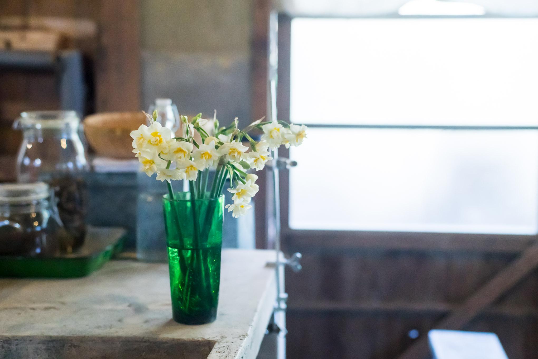 水仙、コデマリ、ムスカリ。工房にも花を飾ろう